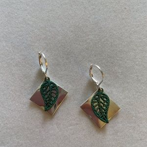 Earrings, Silver Plated Squares with Green Leaves